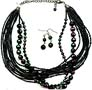 Black Seedbead Multi Strand Necklace Set