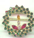 Green Rhinestone Wreath with Candle Pin
