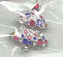Teeny Patriotic Rhinestone Christmas Tree Pin
