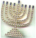 Large Rhinestone Menorah Pin