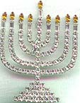 Gorgeous Large Size Rhinestone Menorah Pin with gold flames