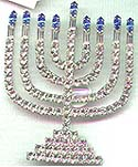 Gorgeous Large Size Rhinestone Menorah Pin
