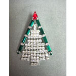 Sweet Clear Rhinestone Fringe Christmas Tree pin
