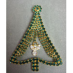 Green Rhinestone Angel Christmas Tree Pin