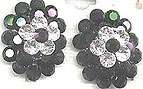 Black and Clear Rhinestone Cluster Earrings