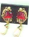 Big Red Glass and Pearl Earrings
