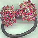 Red Rhinestone Bow Ponytail Holder