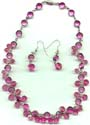 Pink Dangles Crystal Necklace and Earring Set