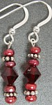 Cranberge  Cranberry Pearl and Red Crystal Earrings