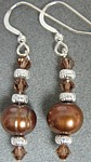 Hazlenut Truffle Brown Pearl and Crystal Earrings