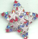 Patriotic Red, White, and Blue Rhinestone Star Pin