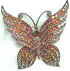 Red and Orange Rhinestone Butterfly Pin