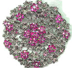 Large Ivy Disc Pin with Pink Rhinestone Flowers