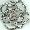 Pale Green Rhinestone Rose Pin