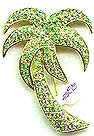 Peridot Green Rhinestone Palm Tree Pin