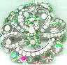 Mint Green and White Rhinestone Scatter Pin