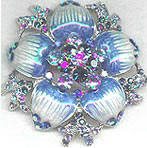 Blue Enamel and Blue Rhinestone Pin