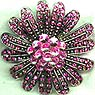 Pink Rhinestone Flower Pin with Rivoli Rhinestone Center