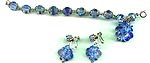 Yummy Vendome Blue Crystal Bracelet and Earring Set