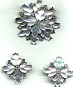 Pale Blue Pell Fruit Salad Molded Glass Pin and Earrings Set