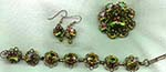Olivine Green Rivoli Rhinestone Parure-Pin, Earrings, and Bracelet
