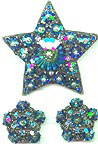 Vintage Blue Rivoli Star Rhinestone Pin and Earring Set